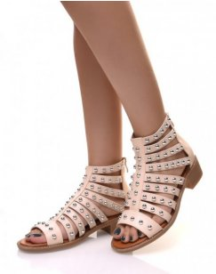 Sandales Beige à multiples lanières cloutées