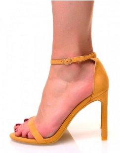 Sandales jaunes en suédine à talons aiguilles