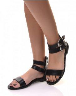 Sandales montantes à boucles noires