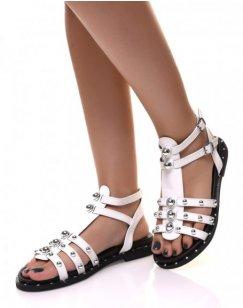 Sandales montantes Blanche à brides cloutées