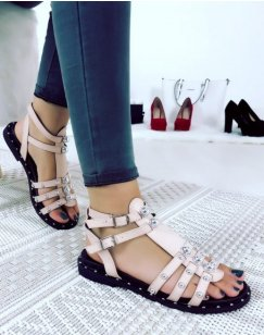 Sandales montantes Rose à brides cloutées