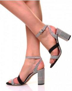 Sandales motif pied de poule noir et rouge à talons carrés