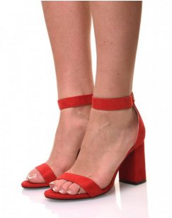 Sandales rouges en suédine