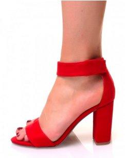 Sandales rouges en suédine à talons carrés et brides en scratch