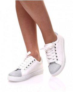 Sneakers bi matières blanches pailletés