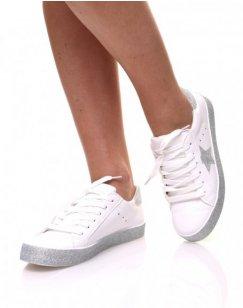 Sneakers blanches à paillètes grises