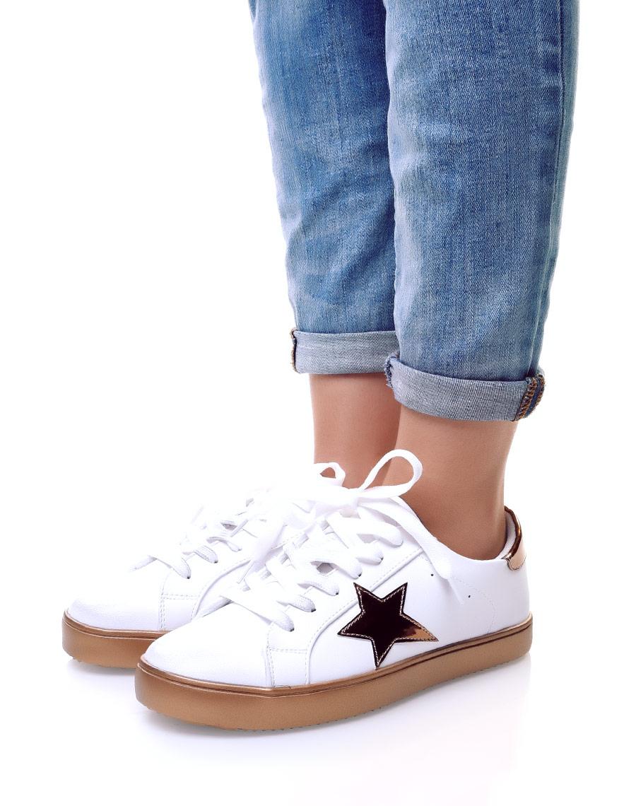 super quality official supplier where can i buy Basket avec étoile à lacets or