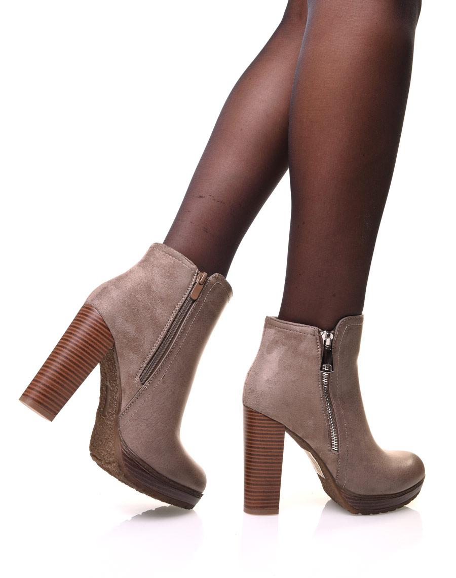 bottine talons kaki