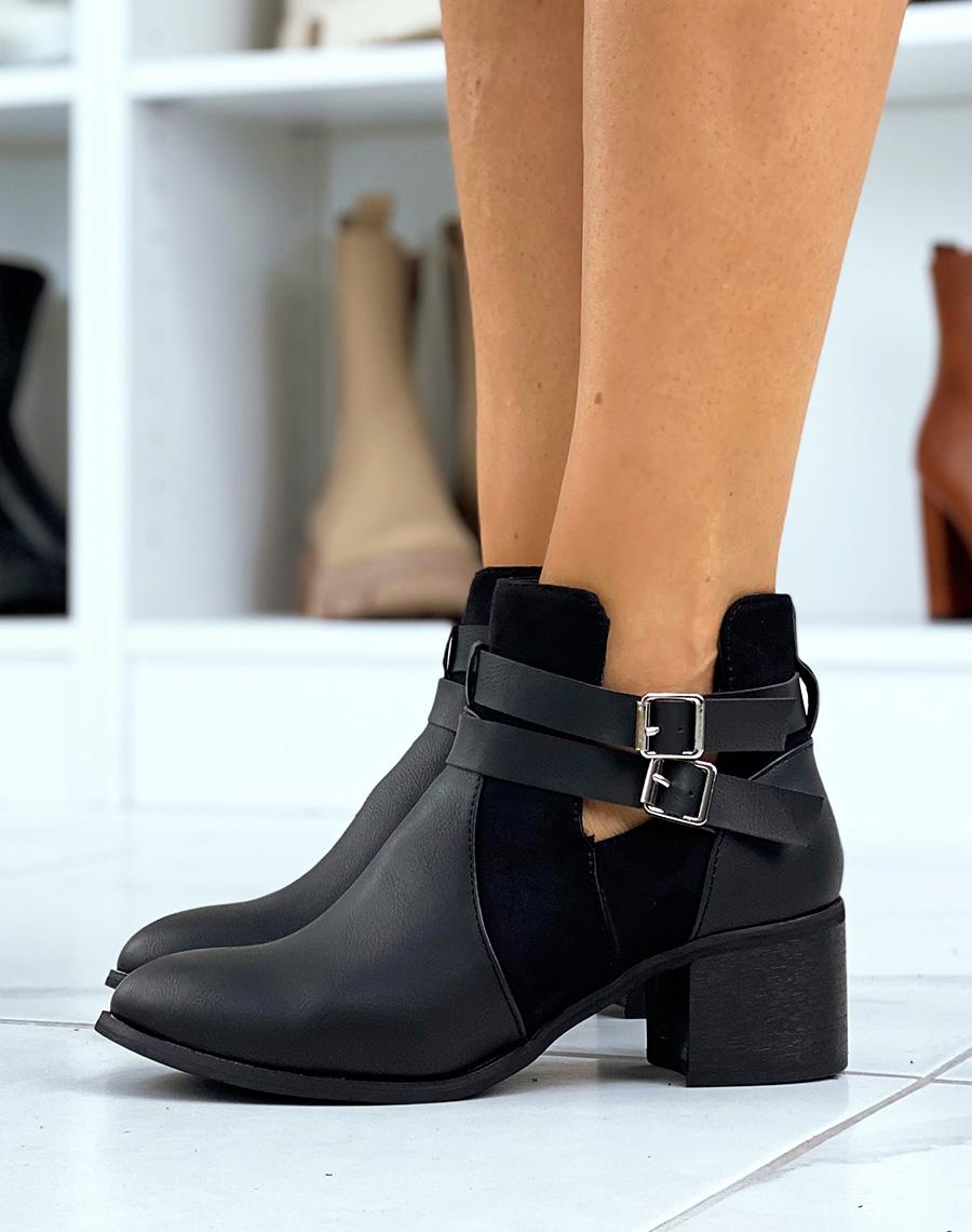 bottines femmes noires ajourée