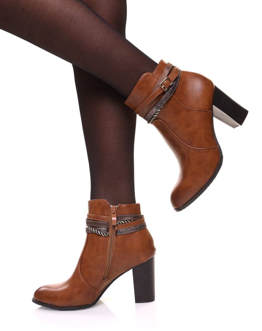 hauts et décoratives Bottines camel brides talons à K13TlcFJ
