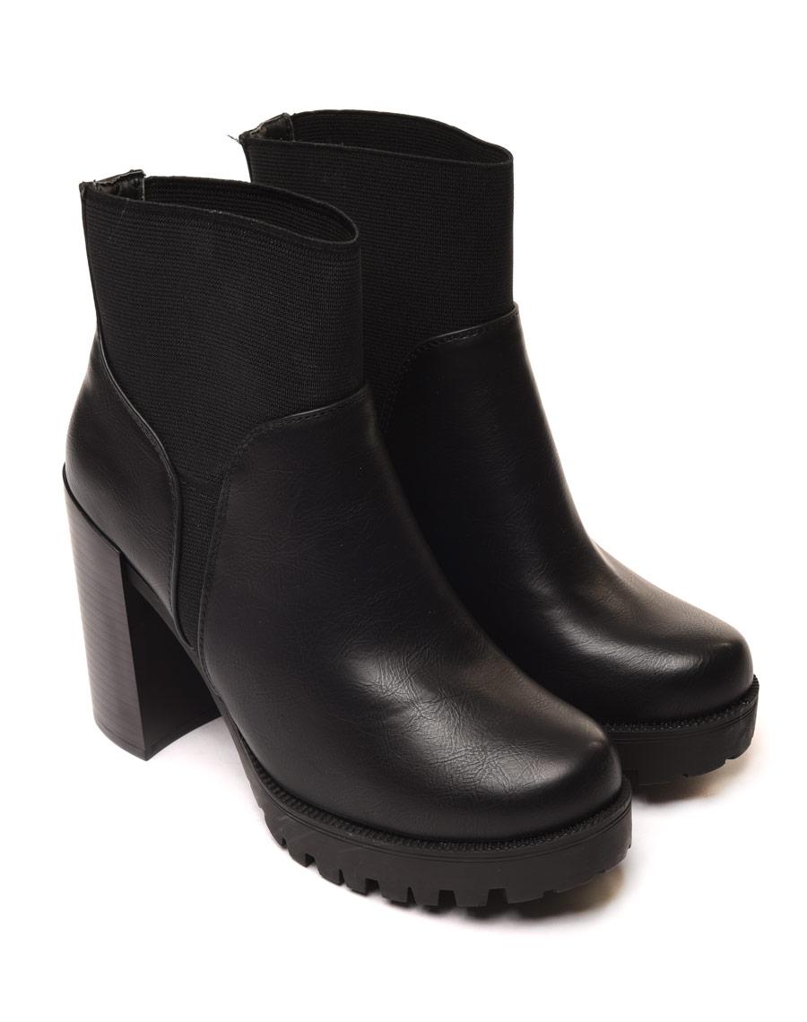 Bottes femme noires Bottines chelsea à talon bottier haut Crock Détail Doublure Chaude Taille