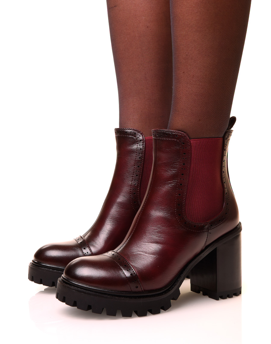 bottines marron rouge