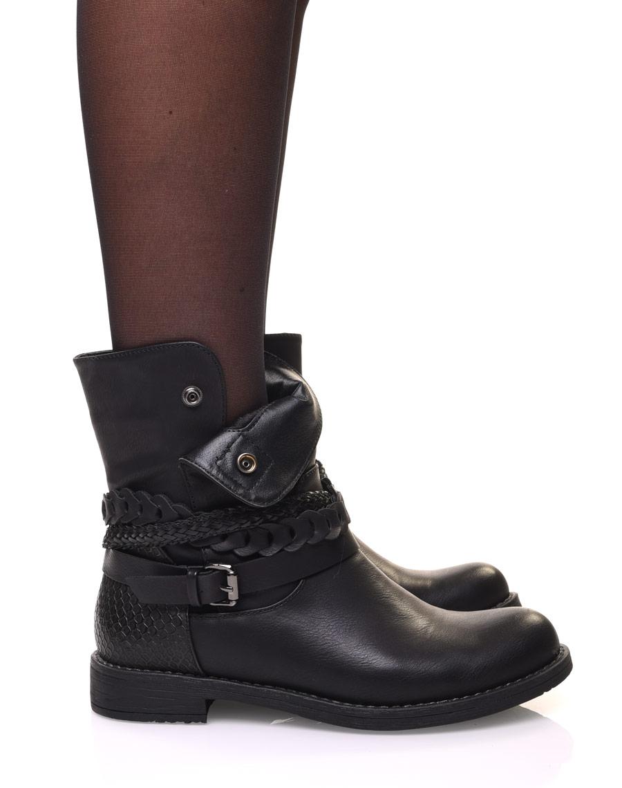 bottines femme motarde noires