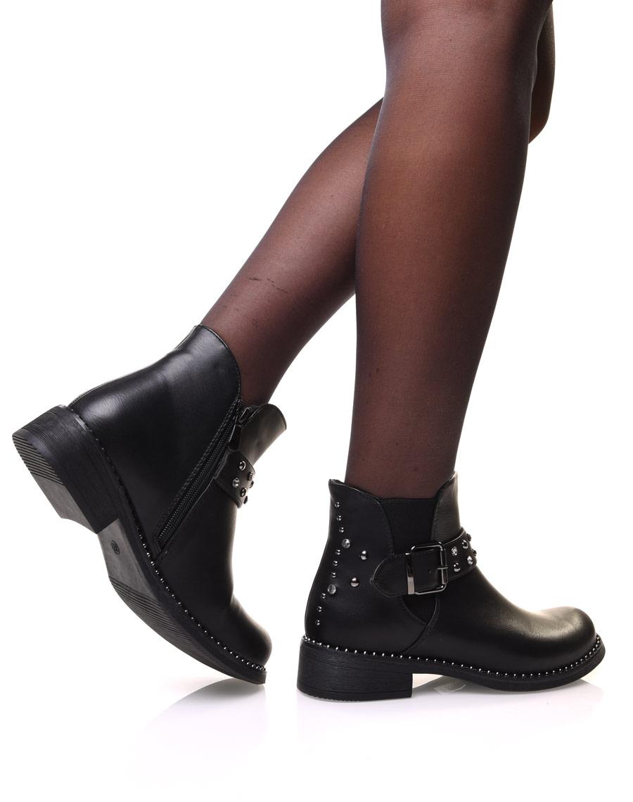 bottines noir avec perles et strass