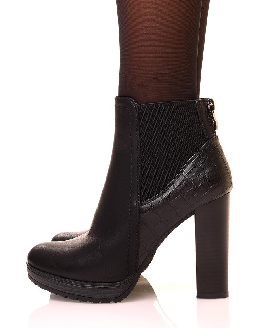 bottines haute noirs talon