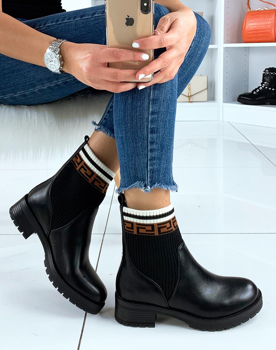 Bottines chaussette effet Bottines noires Bottines chaussette effet noires 0XwknOP8