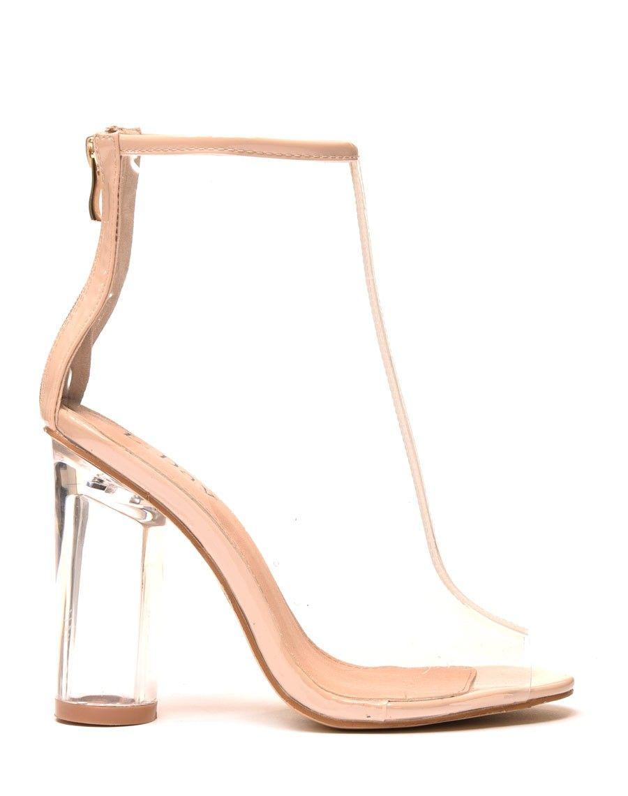styles classiques meilleures chaussures luxe Bottines transparentes nudes à talon transparent rond
