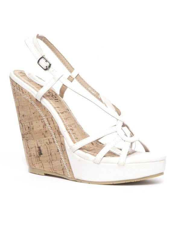 Chaussure femme Bellucci: Escarpin compensé ouvert blanc