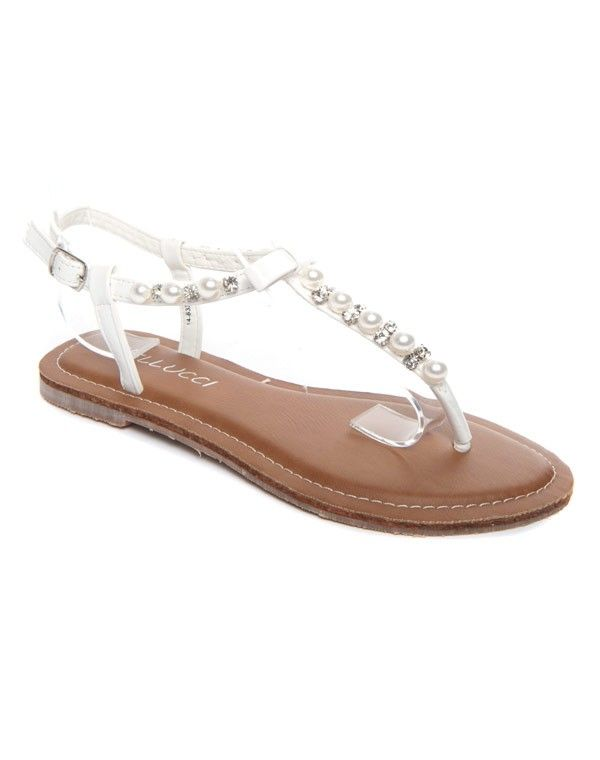 À Femme Chaussure Blanche Perle BellucciSandale yNnm8Owv0