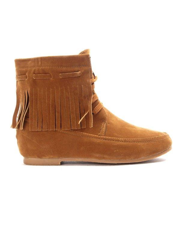 détaillant en ligne 0bd2d b2aaa Chaussure femme Bo'aime: Bottine à frange - camel