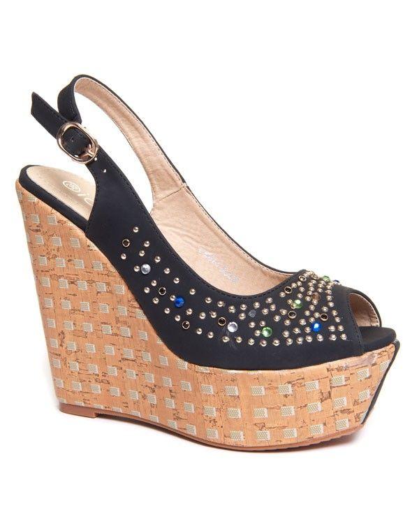 pas mal 21cd0 a0297 Chaussure femme Ideal: Sandale compensée à strass noire