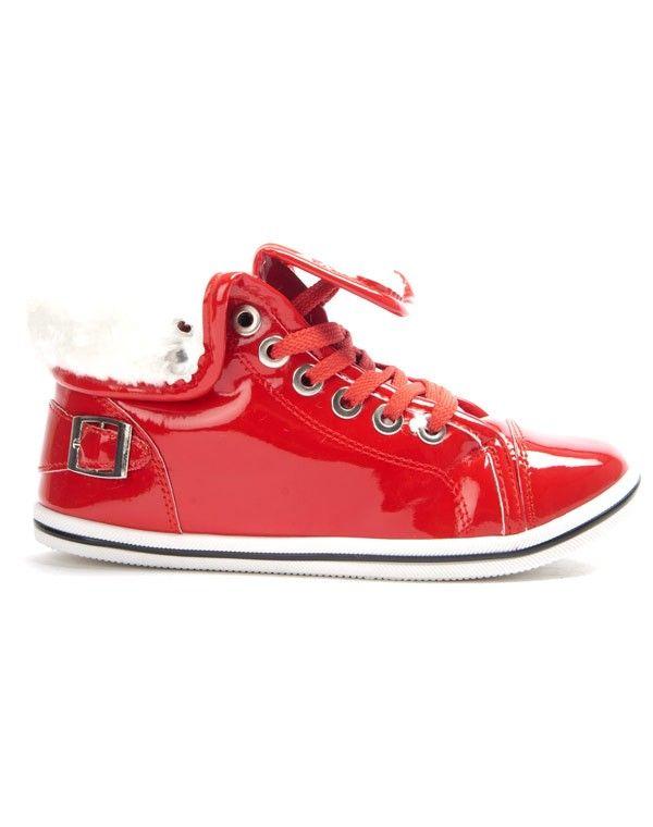 PopBasket fourré femme Libra rouge vernis Chaussure Onwvm80yN
