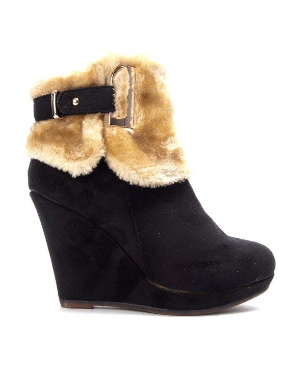 Chaussures RossiBottine fourrée noire femme Bruna compensée Yb6mIf7gyv