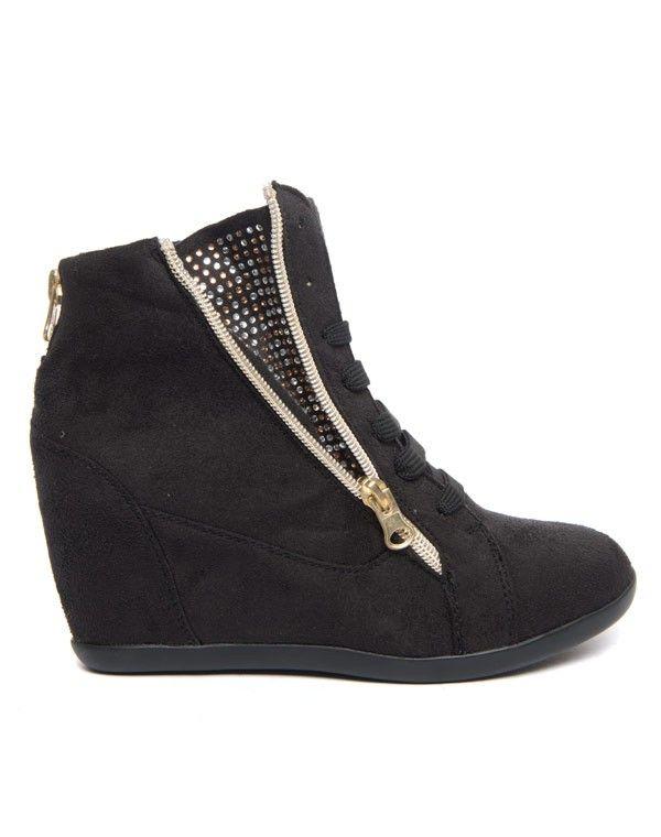 Chaussures femme Findlay: Basket compensée à strass noir