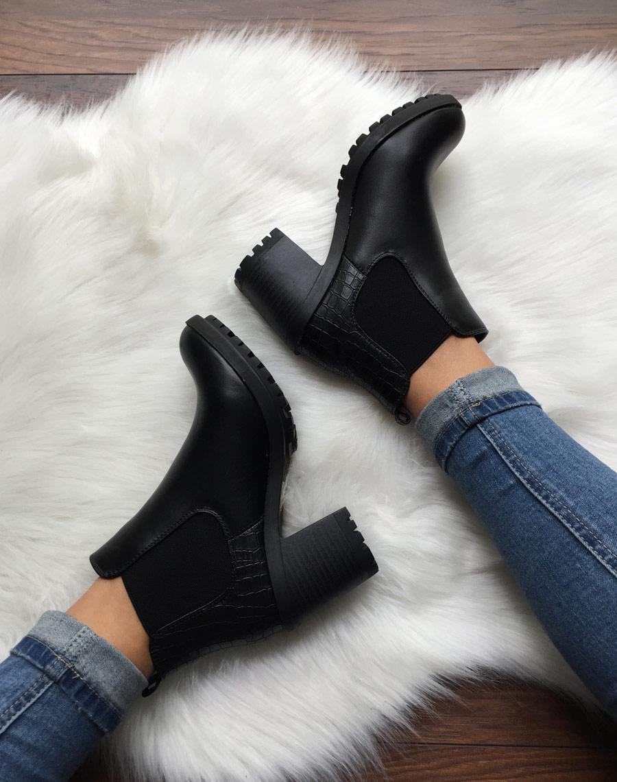72d2e33974de0b Chelsea boots noires à talon et effet croco