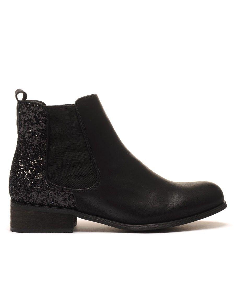 chelsea boots noirs pailltes pas cher. Black Bedroom Furniture Sets. Home Design Ideas