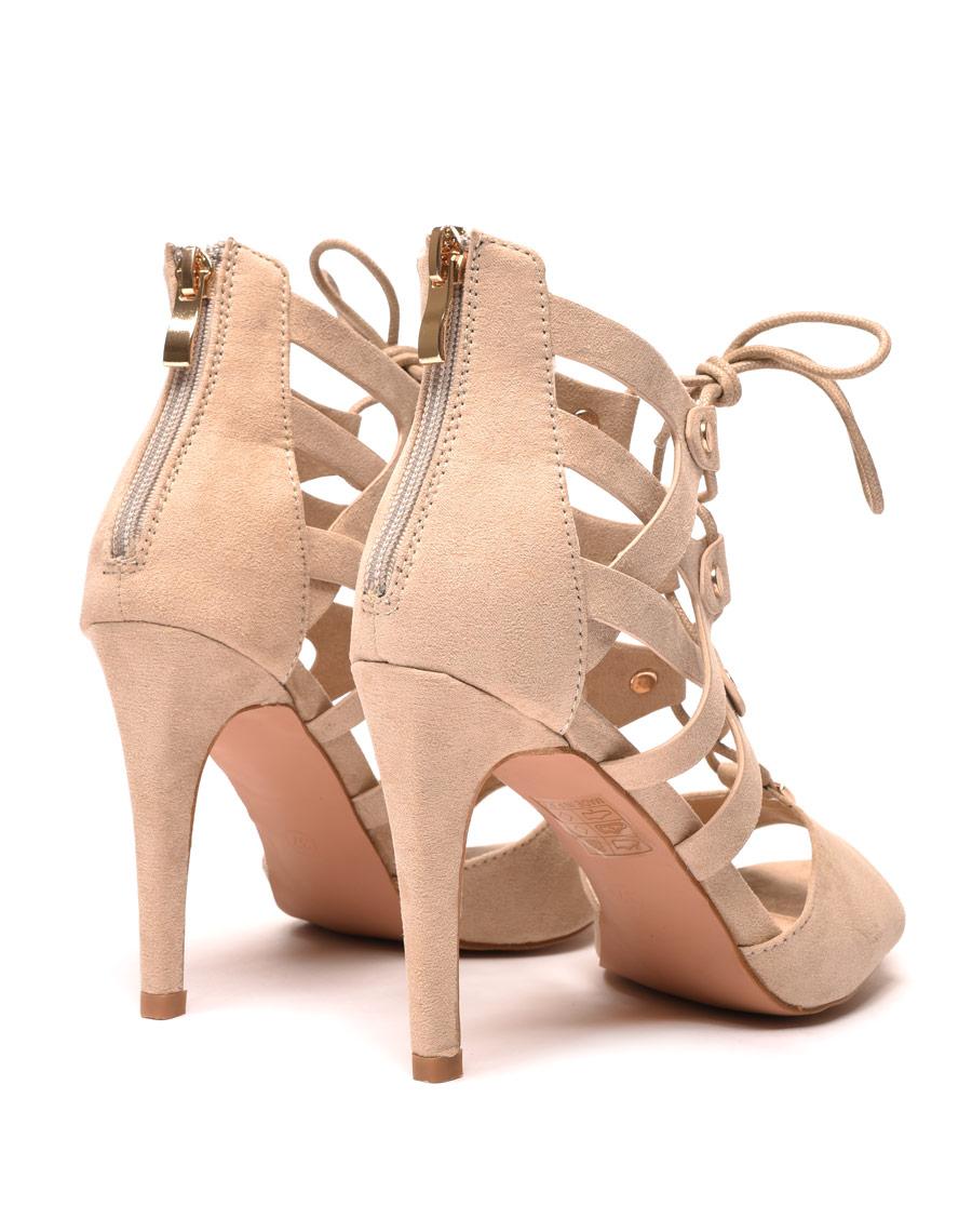 chaussure femme escarpin beige lacet. Black Bedroom Furniture Sets. Home Design Ideas