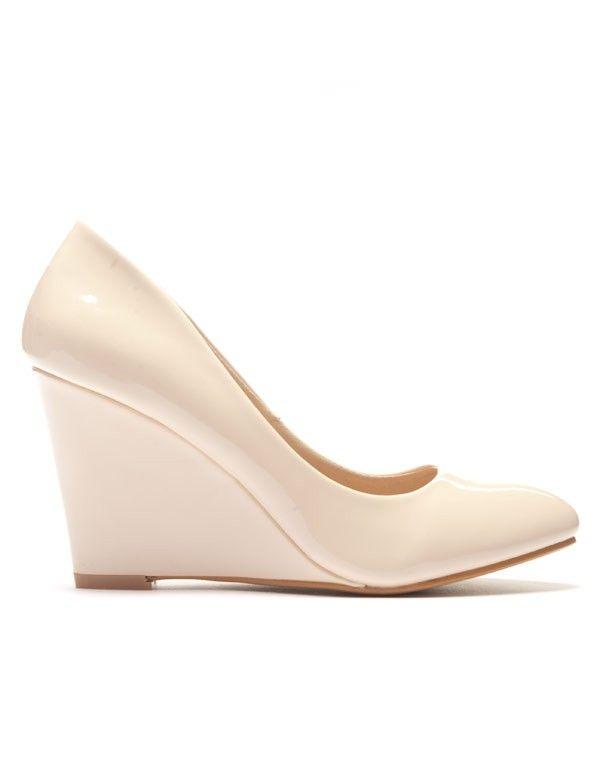 prix plus bas avec achat spécial chaussures élégantes Escarpin beige verni avec talon compensé