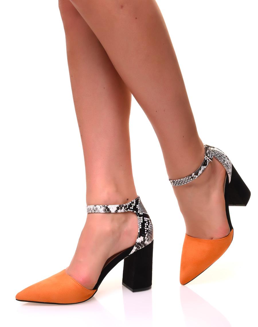 chaussure vernis talon carré orange