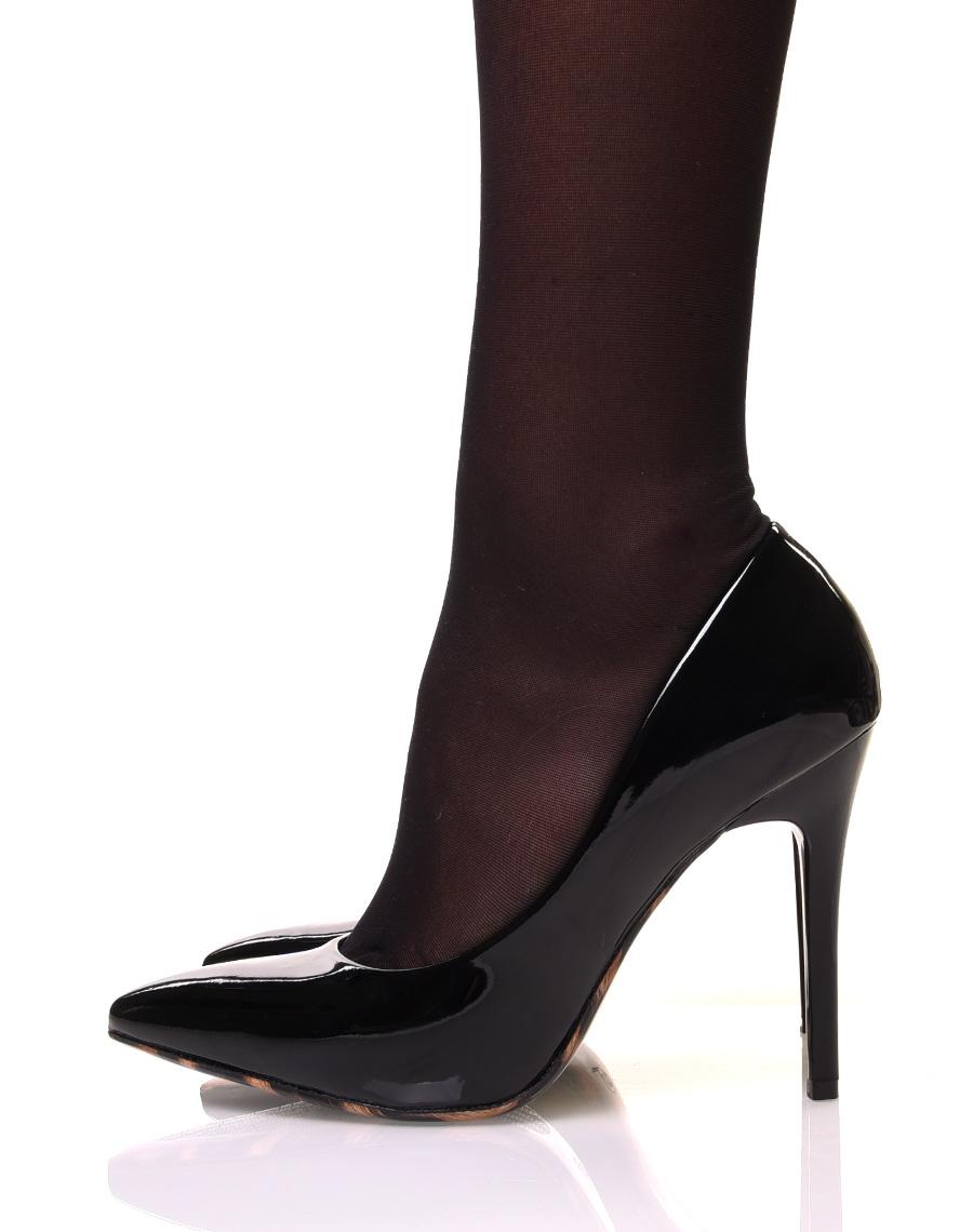 escarpins noirs vernis talon aiguille