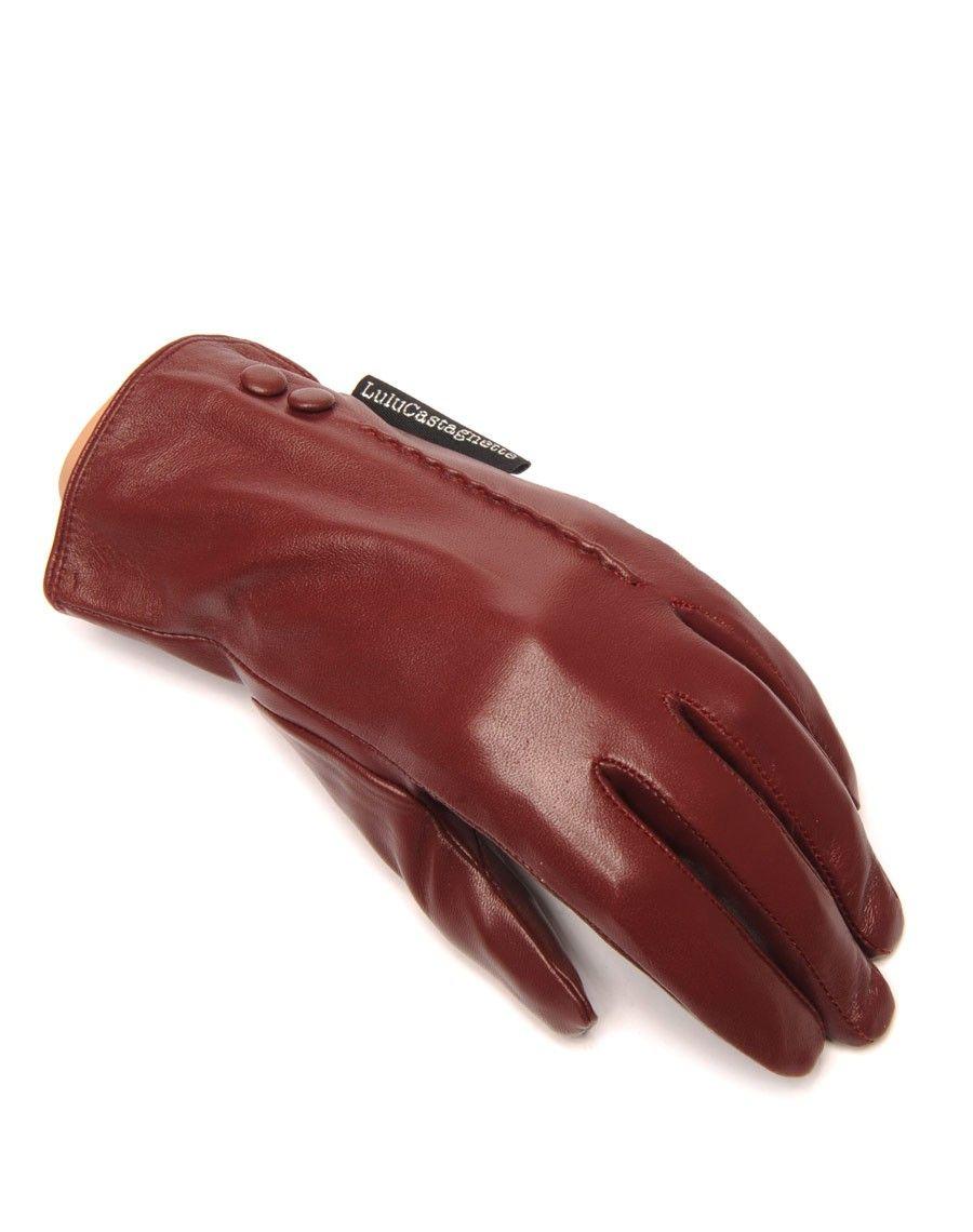 gants en cuir bordeaux lulucastagnette 2 boutons d co. Black Bedroom Furniture Sets. Home Design Ideas
