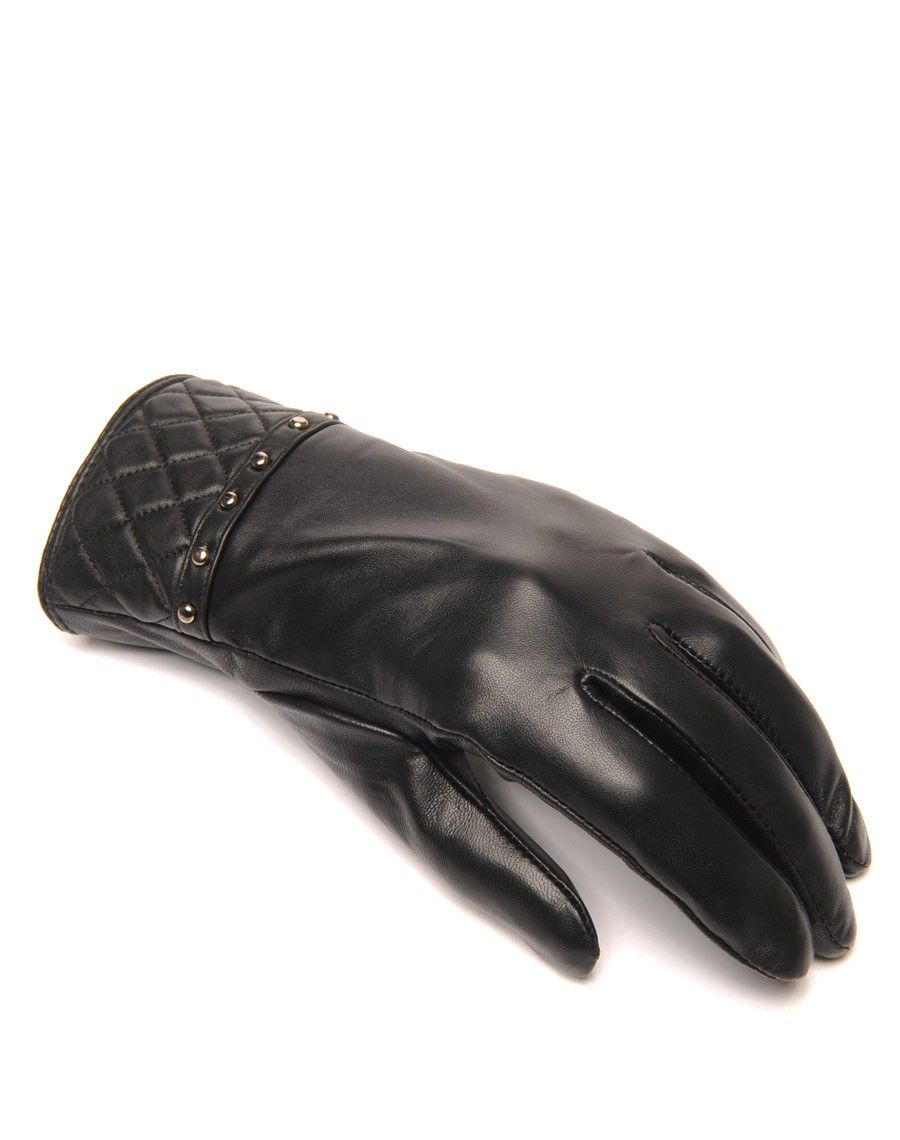 gants en cuir noir lulucastagnette clout pas cher. Black Bedroom Furniture Sets. Home Design Ideas