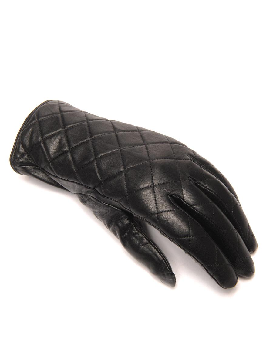 gants en cuir noir lulucastagnette matelass. Black Bedroom Furniture Sets. Home Design Ideas