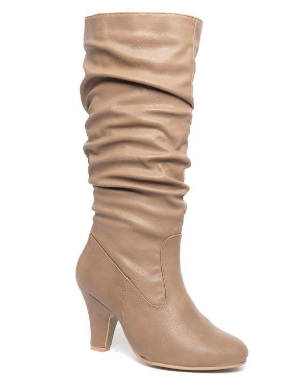 plus de photos 1060a 4b5ce Grandes bottes à talons Mannika jambières plissés beige