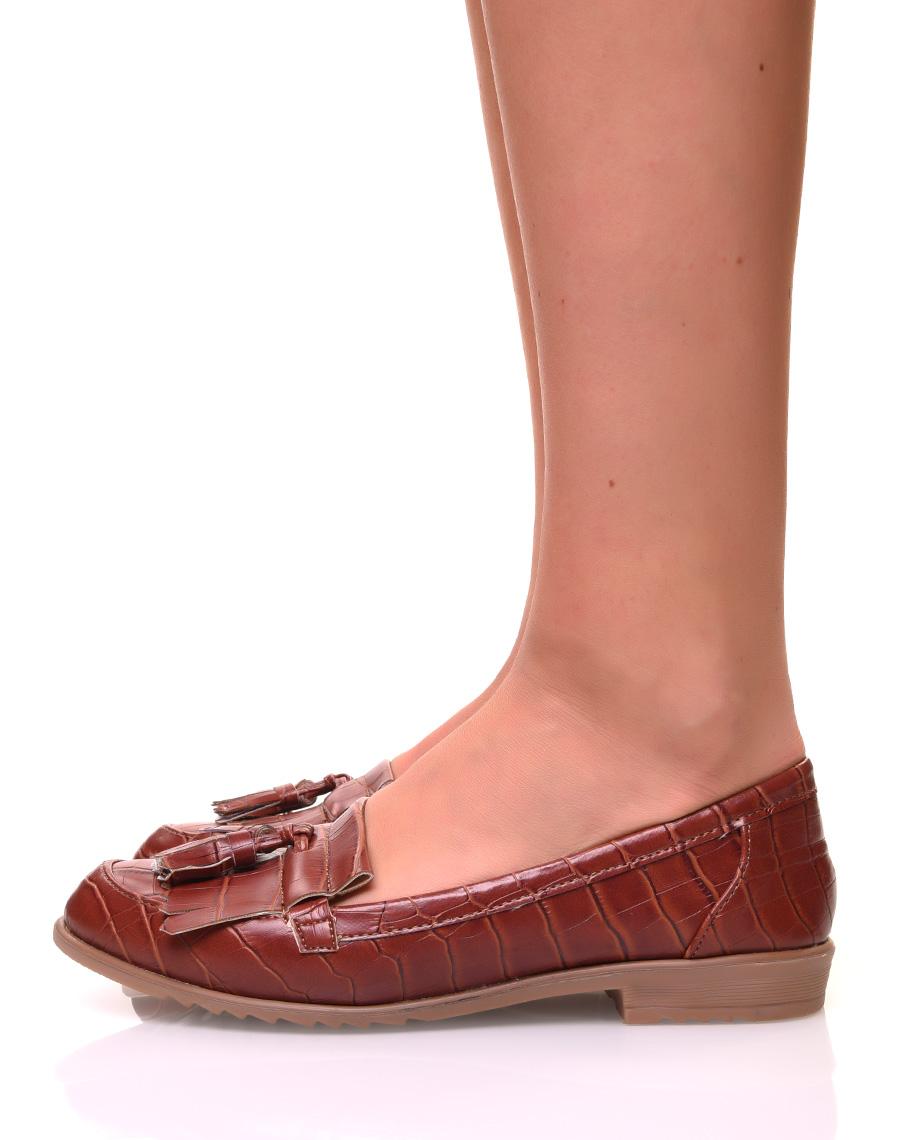 Pompons Beige Or 36 37 38 39 40 41 Mocassins Cuir Richelieu Chaussures Femme