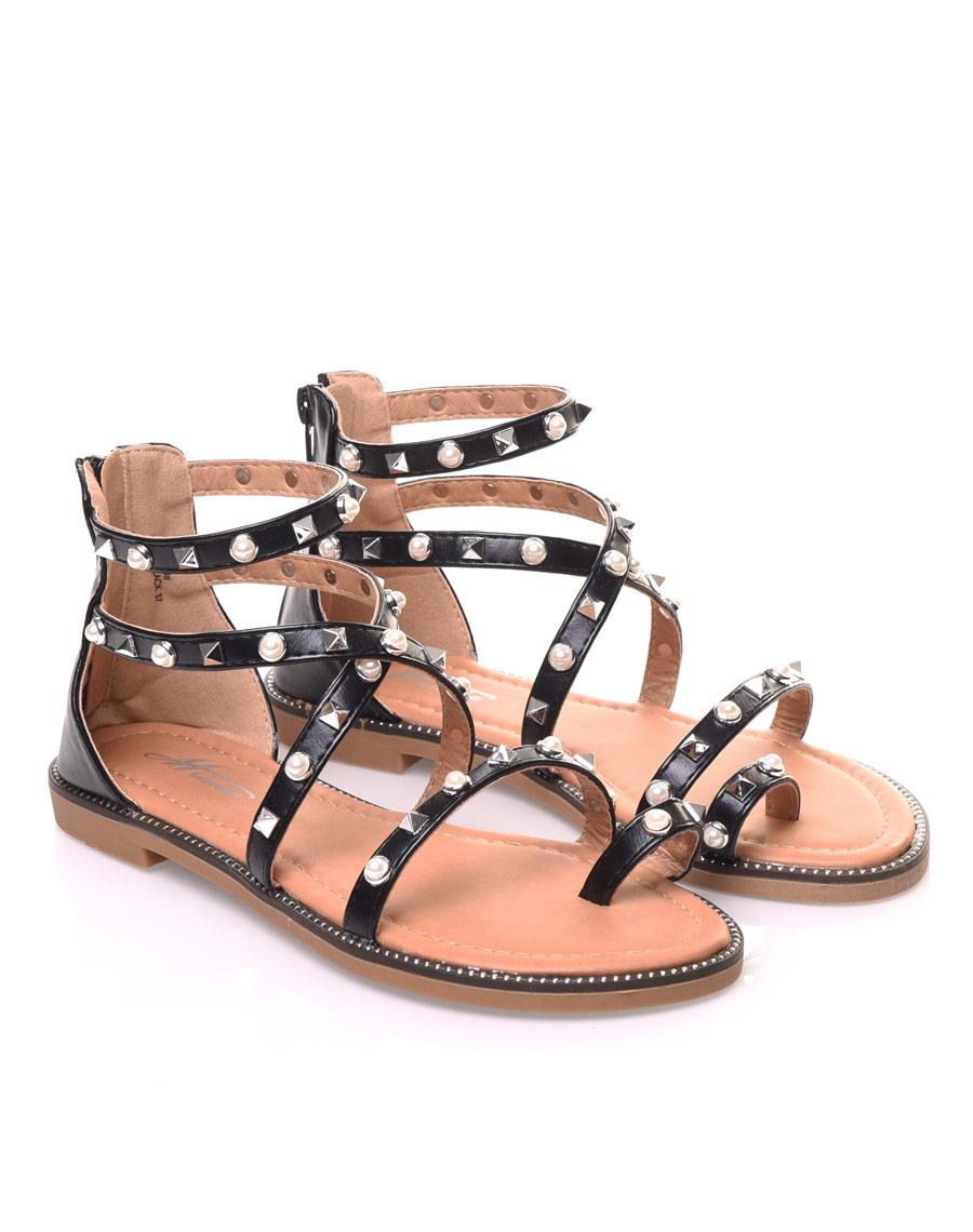 Nu-pieds noirs cloutés et perlés 916b84c65d3e