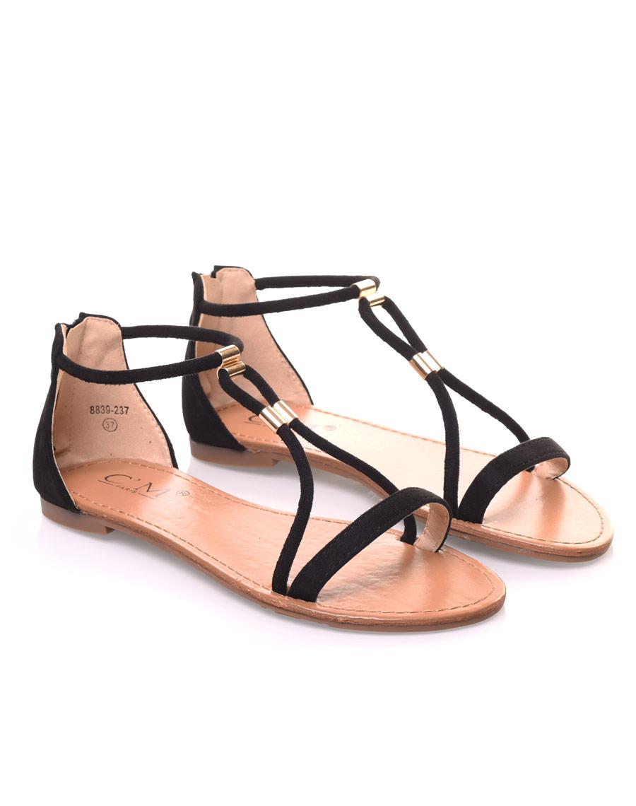 Nu-pieds noirs ornées de perles or 0d19a781af75