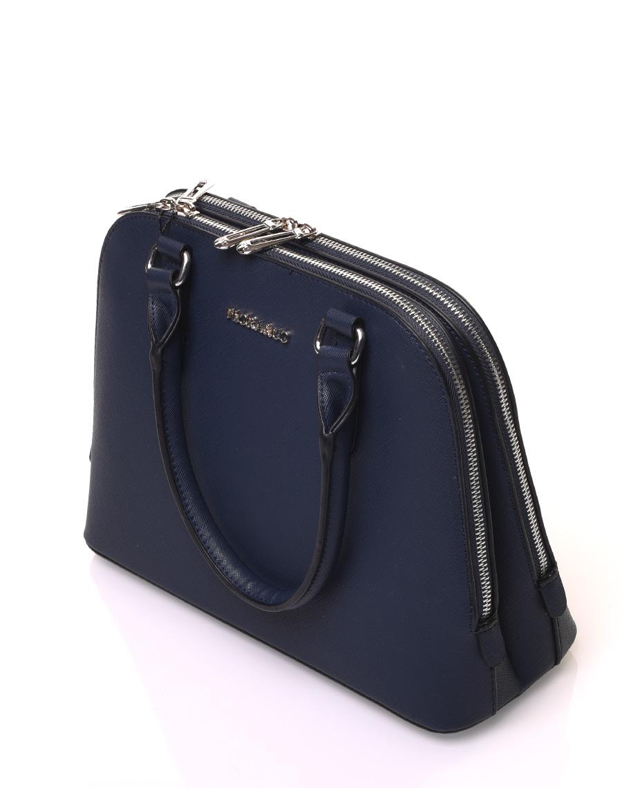magasins d'usine haut de gamme authentique style le plus récent Petit sac à main bleu marine arrondi à doubles compartiments