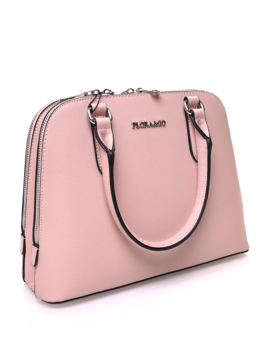 Petit sac à main rose pale arrondi à doubles compartiments