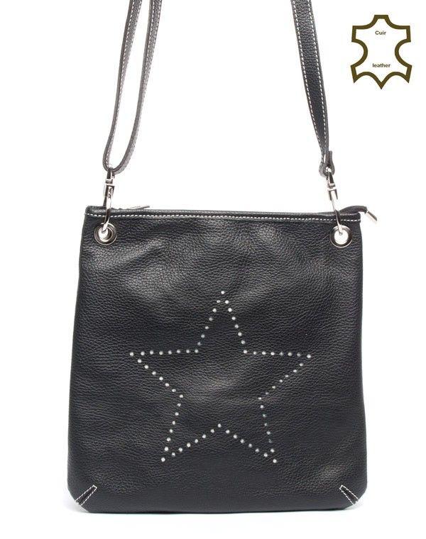 best deals on footwear new design Sac à main carré noir en bandoulière avec motif étoile en poinçon