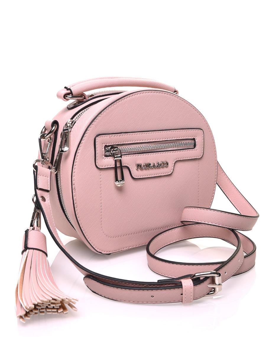 Sac bandoulière rond rigide type mallette rose pale