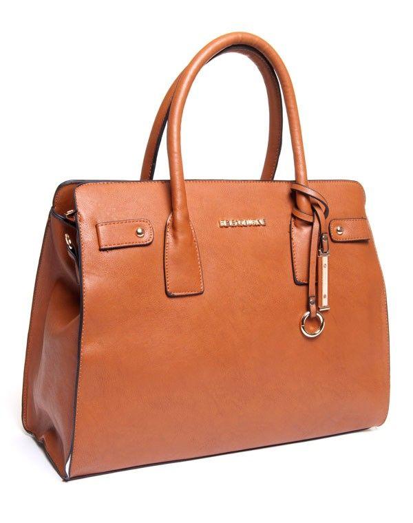 Sac femme Be Exclusive: sac à main grand format camel