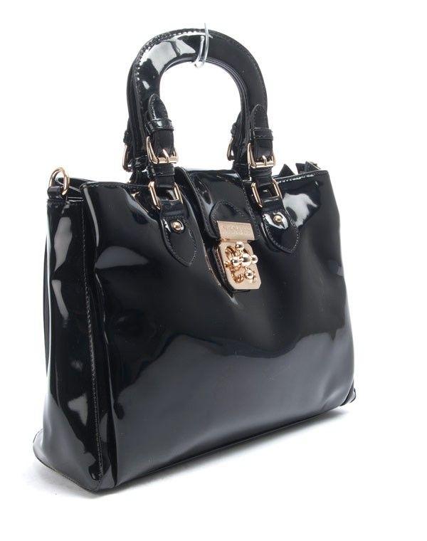 sac femme nanucci sac main vernis noir. Black Bedroom Furniture Sets. Home Design Ideas