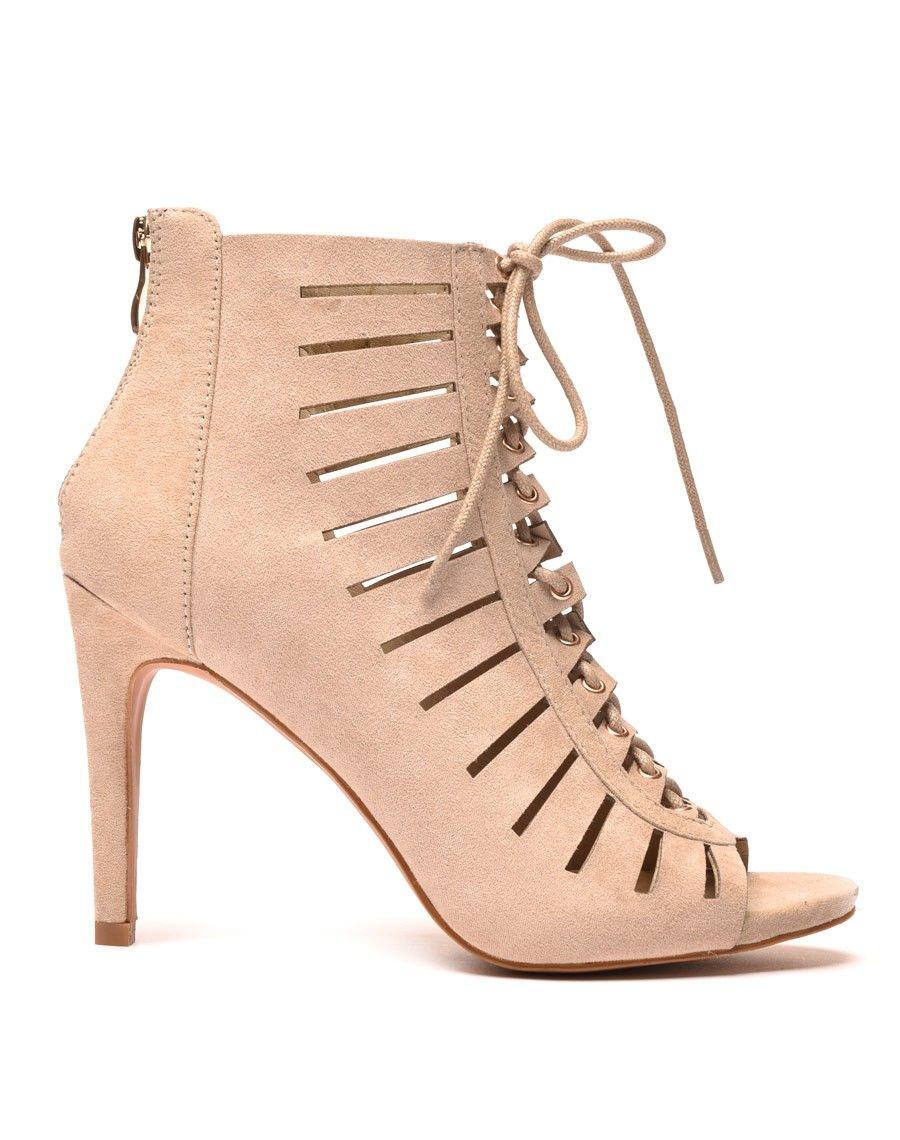 mode designer choisir officiel design exquis Sandale à talon beige perforé avec lacet