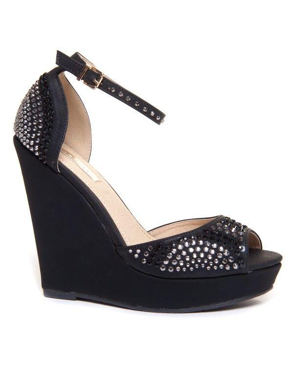 Sandale compensée noire avec strass Bellucci
