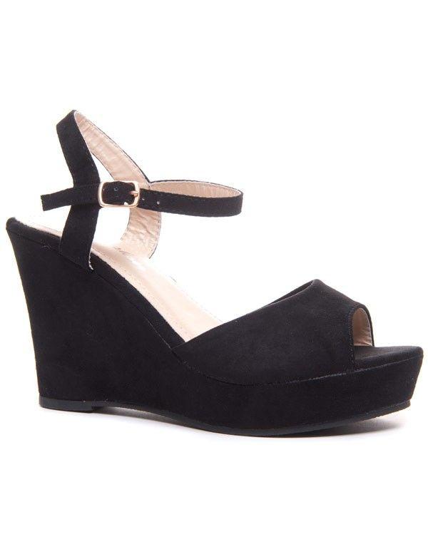 Suédine Noire Sandale Compensée Effet Compensée Sandale Noire ALj543Rq